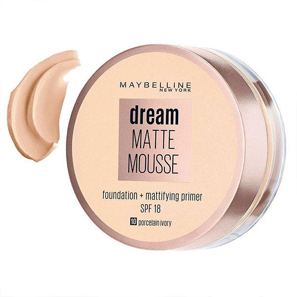 کرم پودر و پرایمر موس میبلین حاوی ضد آفتاب مدل Dream Matte Mousse شماره 10